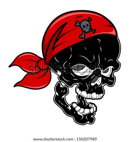 Black Pirate Skull - Vector Cartoon Illustration - stock vector