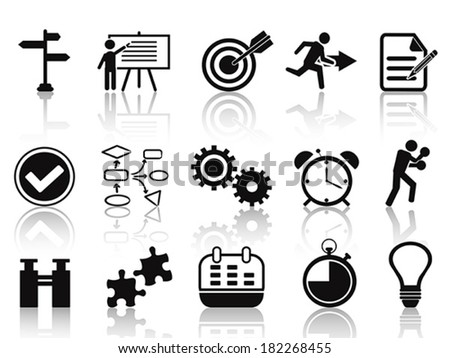 black planning icons set - stock vector