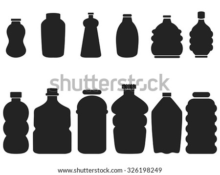 black plastic bottle set - stock vector