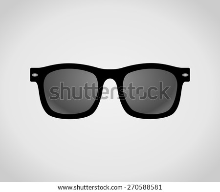 Black plastic hipster sunglasses icon. Classic wayfarer shape sun glasses with black color frame. Personal accessory object concept. vector art image illustration, isolated on white background - stock vector
