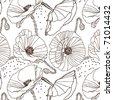 Black poppy pattern - stock vector