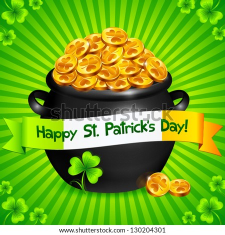 Black pot of leprechauns gold with clovers Patrick's Day card - stock vector