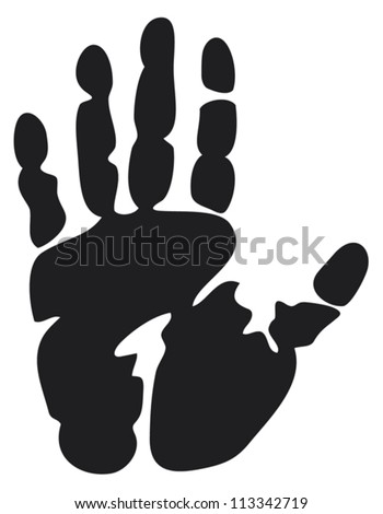 black print of a hand (hand print, hand print shape) - stock vector