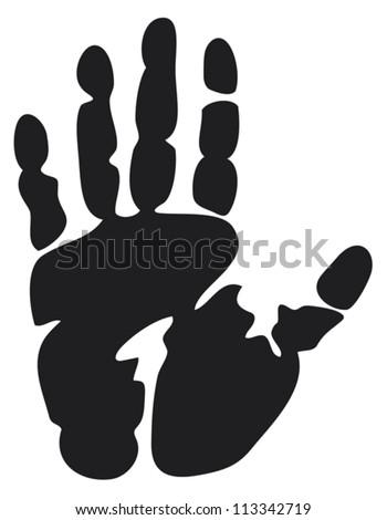 black print of a hand (hand print, hand print shape) - stock vector