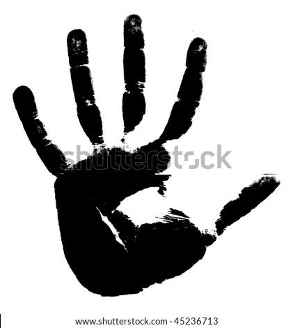 Black print of a hand on a white background. Vector illustration - stock vector