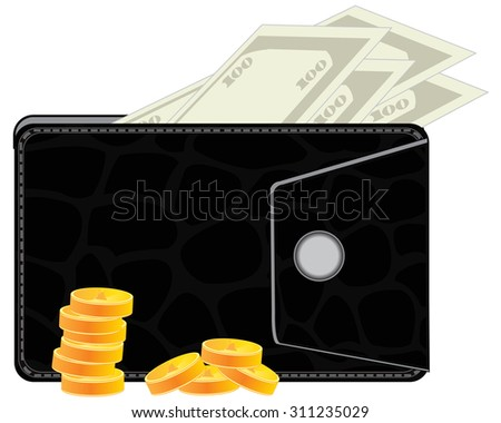 Black purse from skin with money on white background - stock vector