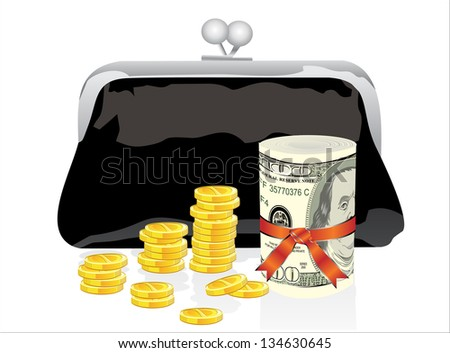 Black purse with money on a white background - stock vector