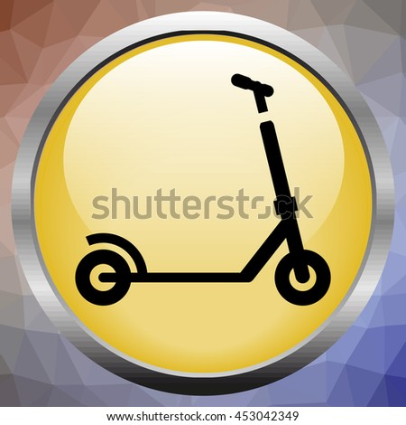 Black push kick scooter fun activity transportation vehicle sport ride toy vector illustration. Kick scooter toy and kick scooter silhouette. Silhouette kick scooter handle transport push scooter. - stock vector