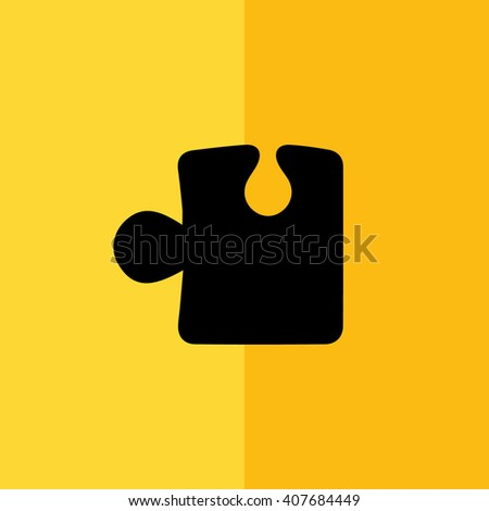 Black puzzle icon vector illustration. Yellow background - stock vector