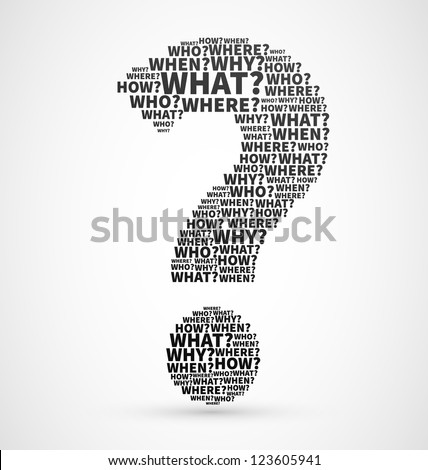 Black Question mark from Question words, search for answer vector illustration, confusion concept or ask symbol for communication design - stock vector