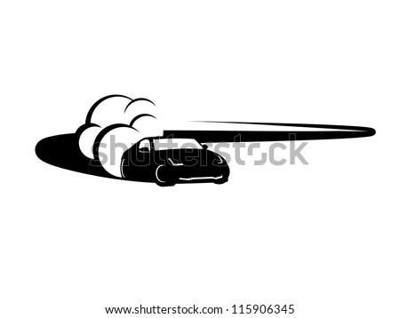 Black Race Car Drifting. - stock vector