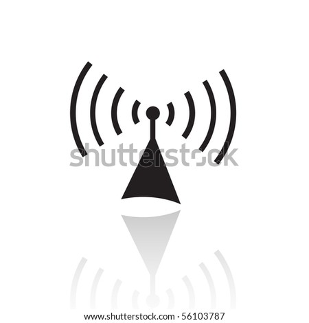 Black radio isolated on white - stock vector