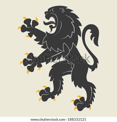 Black rampant heraldic lion. Vector illustration - stock vector