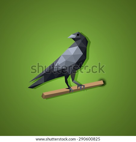 Black Raven bird vector illustration concept low polygon art. Isolated object. - stock vector