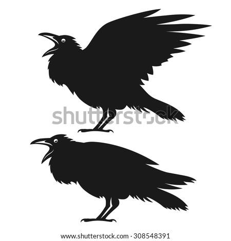 Black ravens set. Design element for t-shirt print, halloween card. Vintage style monochrome illustration. - stock vector