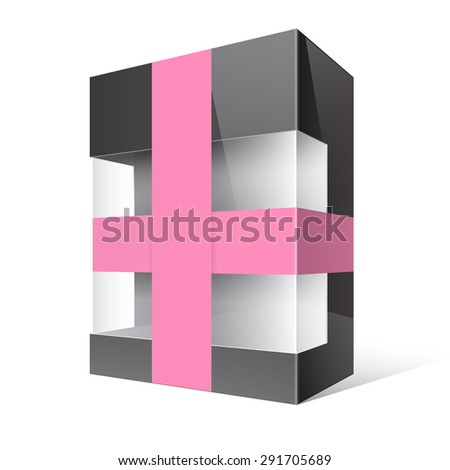 Black Realistic Package Cardboard Box with a transparent plastic window and ribbon  - stock vector