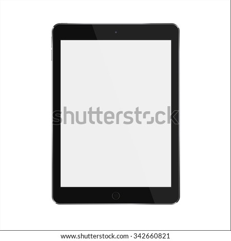 Black realistic smart tablet with blank black screen similar to ipad air. Vector illustration. - stock vector