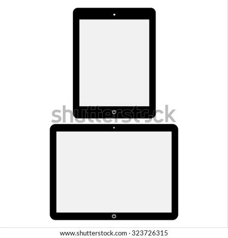 Black realistic tablets vector illustration. - stock vector