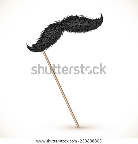 Black realistic vector mustaches on stick - stock vector