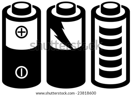 black rechargeable battery icon set - stock vector