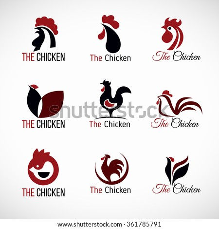 Black red and brown Chicken logo vector set design - stock vector