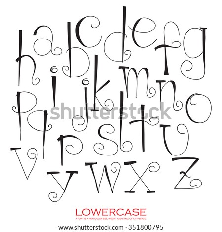 Black red chalk pencil alphabet lowercase letters.Hand drawn written - stock vector