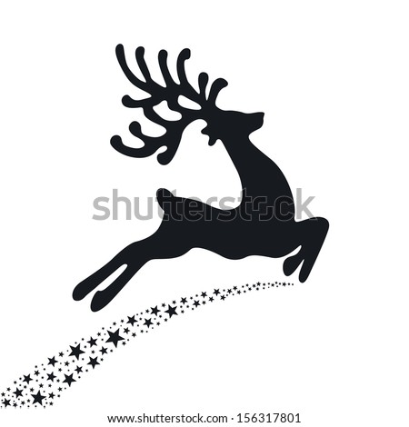 black reindeer flying stars  - stock vector