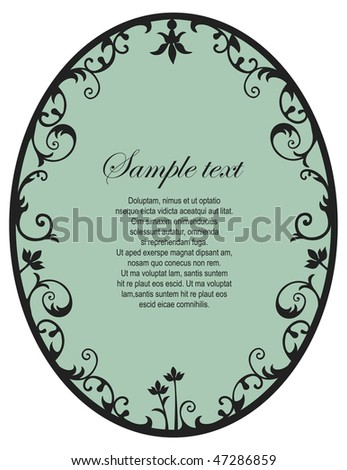 Black retro floral frame with copy space