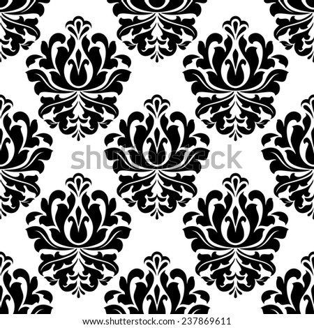 Black retro floral seamless pattern in damask style on white background for fabric and interior design - stock vector