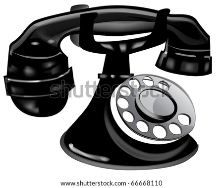 Black Retro Telephone.  Vector EPS10 Illustration.