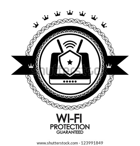 Black retro vintage label | tag | badge | wi-fi protection - stock vector