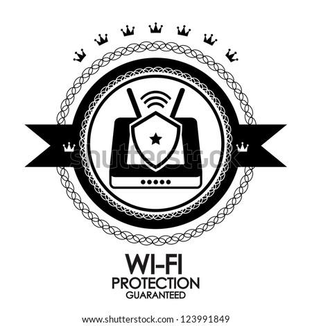 Black retro vintage label   tag   badge   wi-fi protection - stock vector