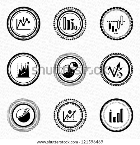 Black retro vintage labels and badges: business statistic - stock vector