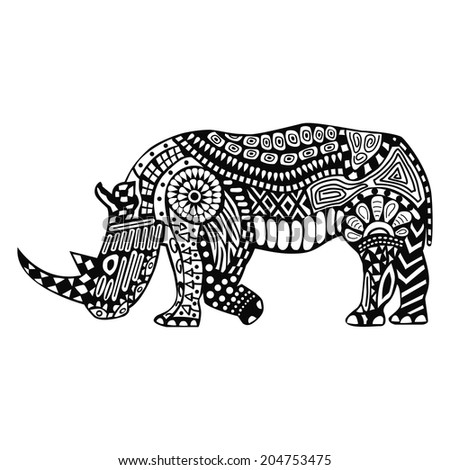 Black rhino with white patterns on body - stock vector