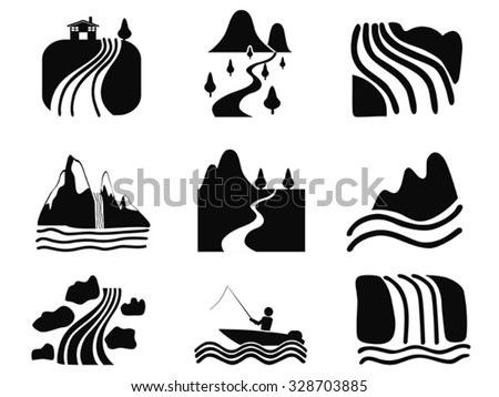 black river icons set - stock vector