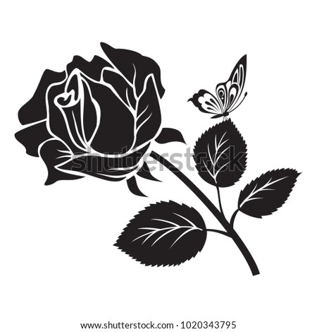 Black Rose Flower with Butterfly Vector Illustration eps 10