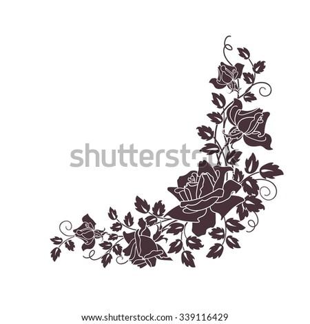 black roses on white - stock vector