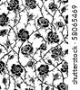 Black roses seamless pattern - stock vector