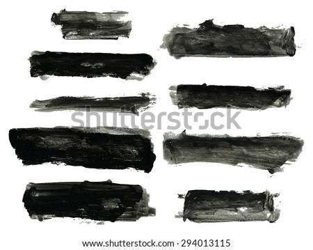 Black rough stroke, set of grungy smears   - stock vector