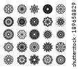 Black round east ornament set. Vector spirographs - stock vector