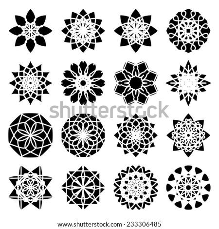 Black round east ornament set. Vector symbols - stock vector