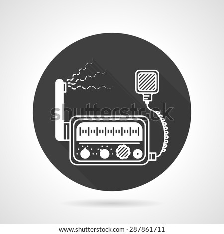 Black round flat design vector icon with white contour vhf radio with speaker on gray background. - stock vector