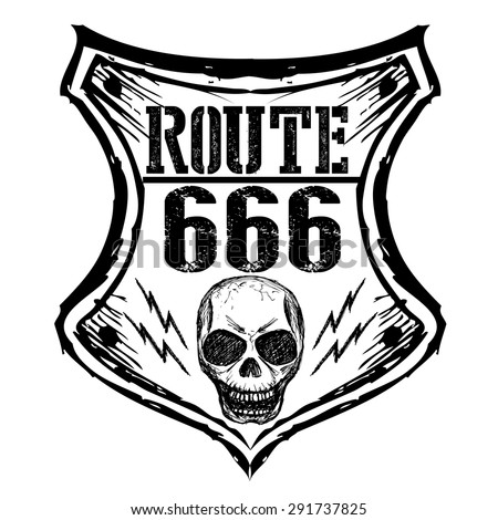 black route 666 sign on a white background, hand drawing,vector - stock vector