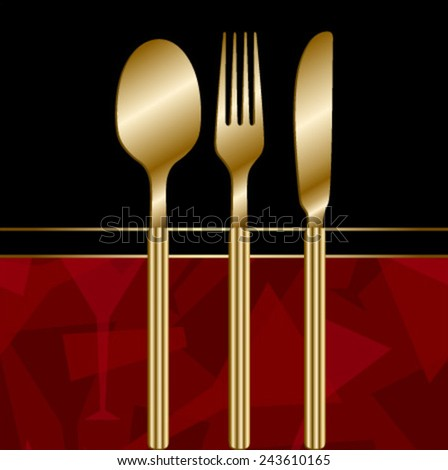 black royal menu with red wine glass pattern & gold cutlery - stock vector