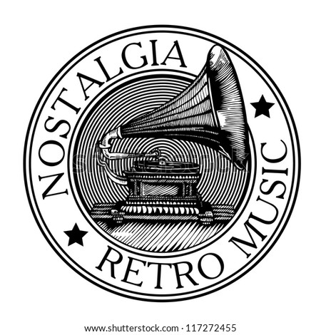 Black rubber stamp with small stars and the word retro music nostalgia written inside the stamp and vintage gramophone. vector object isolated. - stock vector