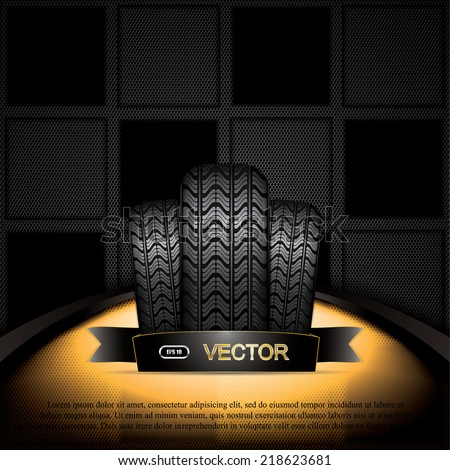 Black rubber tire on golden background, vector illustration  - stock vector