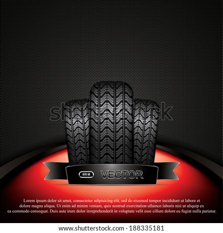 Black rubber tire on red background, vector illustration  - stock vector