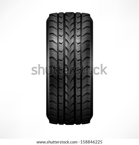 Black rubber tire on white background, vector illustration - stock vector