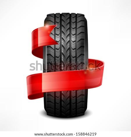 Black rubber tire & ribbon on white, vector illustration - stock vector