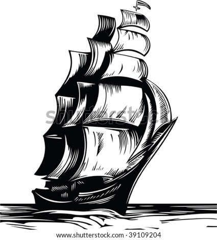 Black sail ship on white background - stock vector